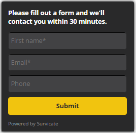 survicate widget form to contact