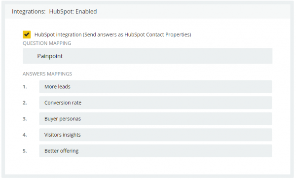HubSpot integration - answers mapping