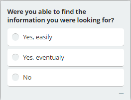 Usability survey question example about finding information on the website