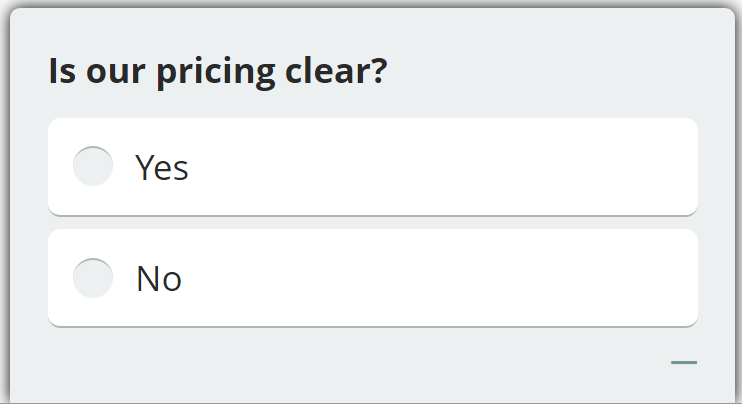 website survey question about pricing clarity