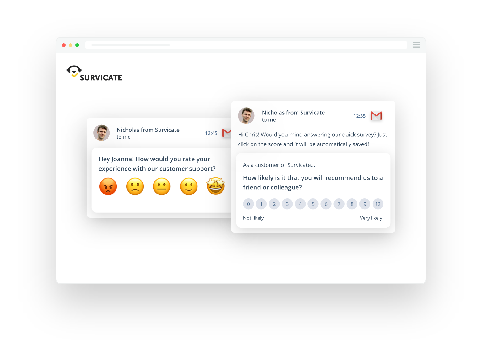 Email-embedded and link surveys, one of the method of collecting customer feedback