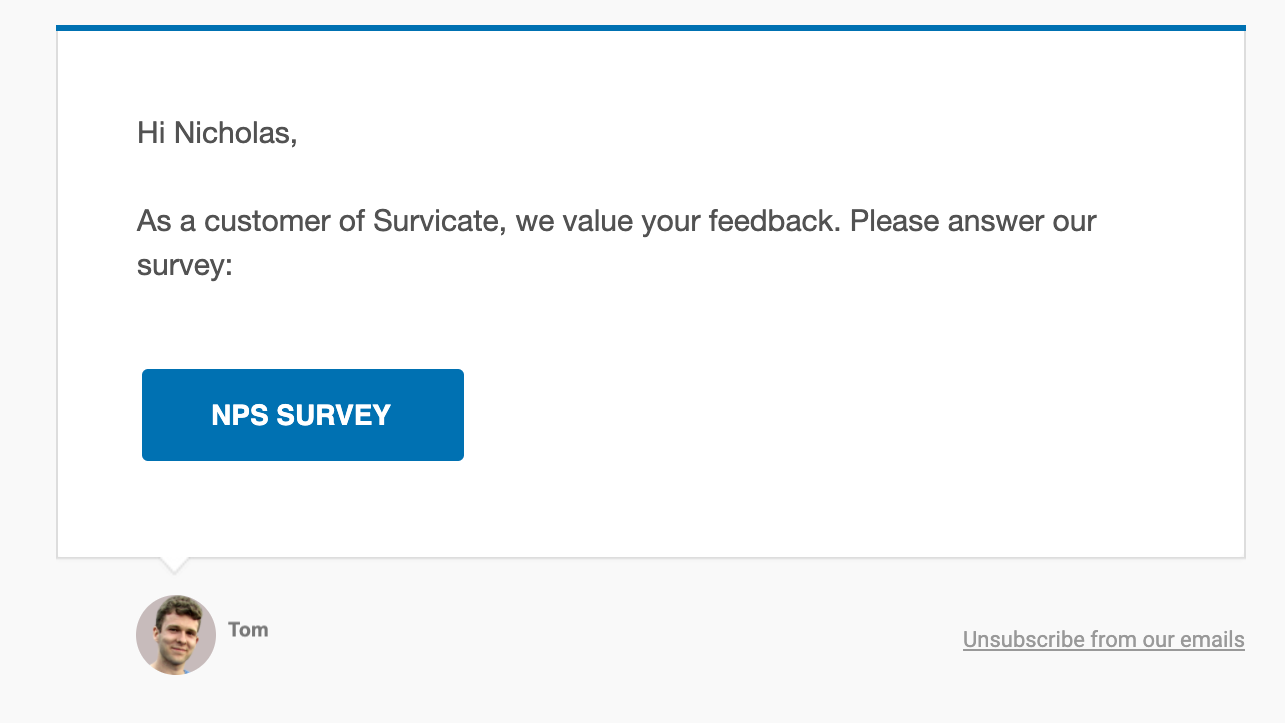 link surveys, one of the method of collecting customer feedback. great for sharing via social media, email, chat or any other method.