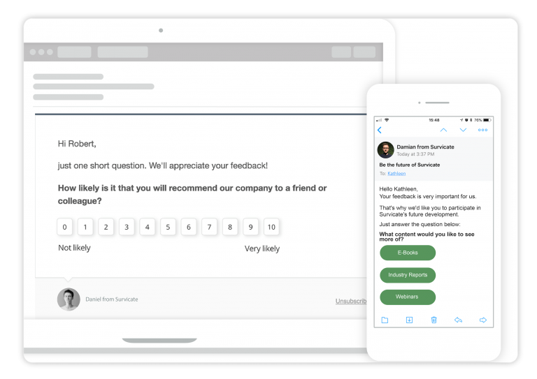 first survey question embedded in the email message – for best email subject lines for sales