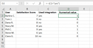 Survey Data Analysis in Excel spreadsheet