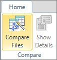 "An image of ""Compare files"" button in Excel"
