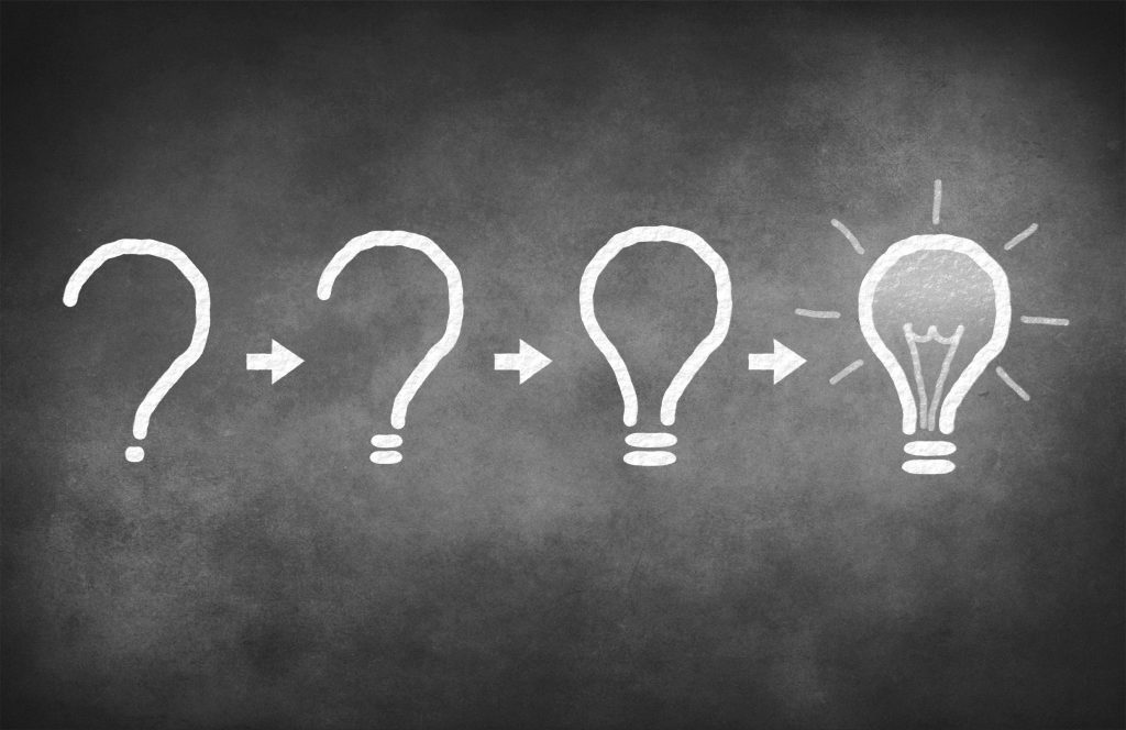 Image of questionmark turning into light bulb - idea generation processing