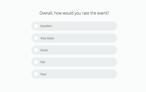 Example of a survey used for event evaluation