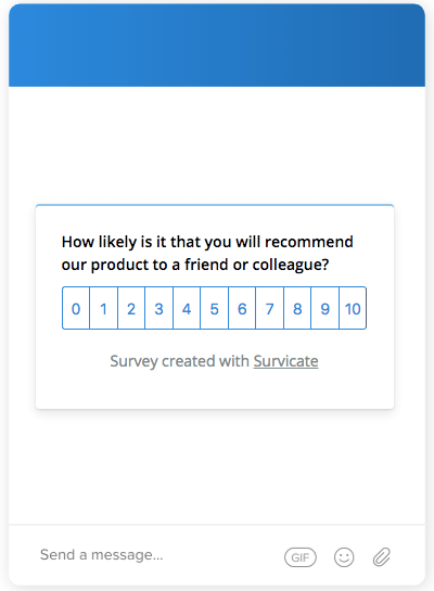 Example of a Net Promoter Score Survey (NPS) for Intercom