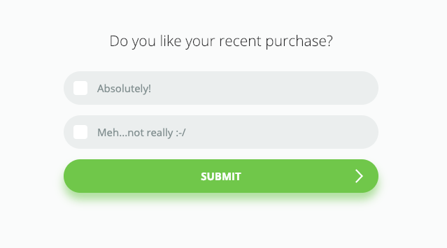 An example of a survey in Mailchimp – question about satisfaction from purchase