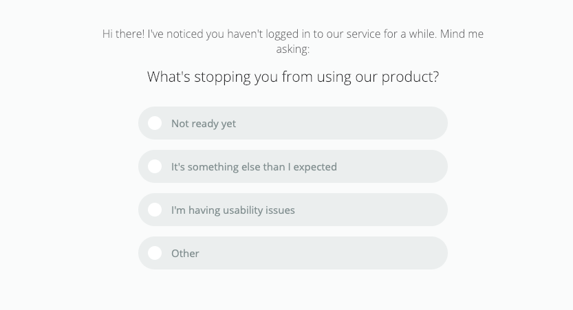 Lead activation survey in Mailchimp