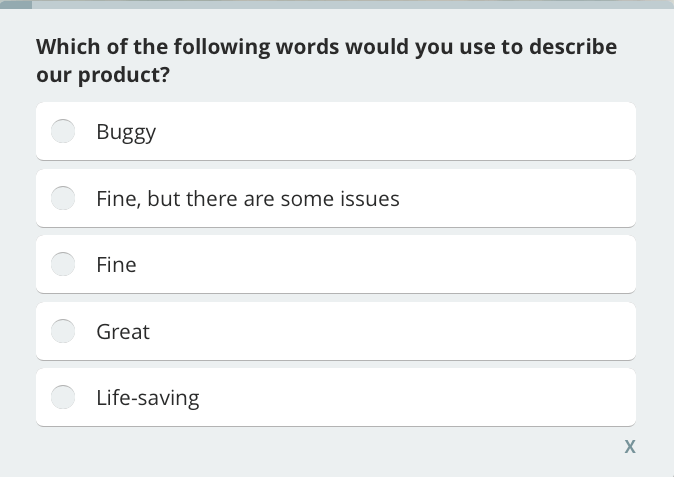 describe product, customer satisfaction survey question