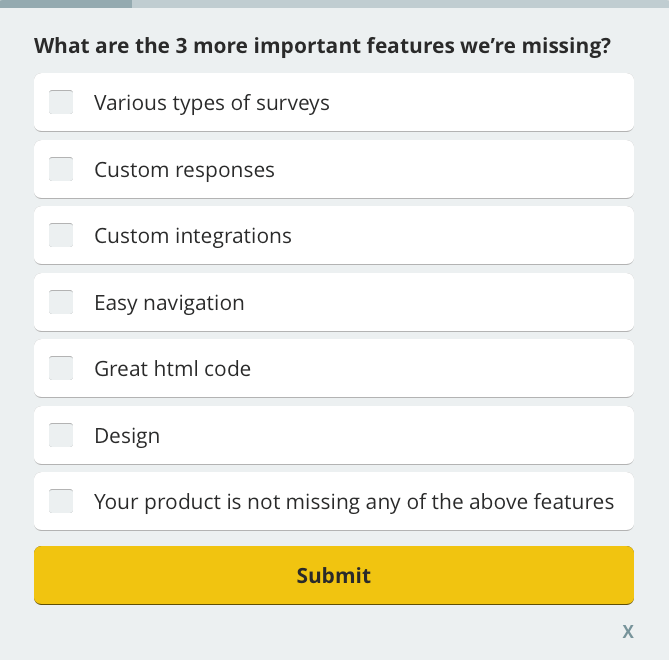 customer missing needs ,customer satisfaction survey question