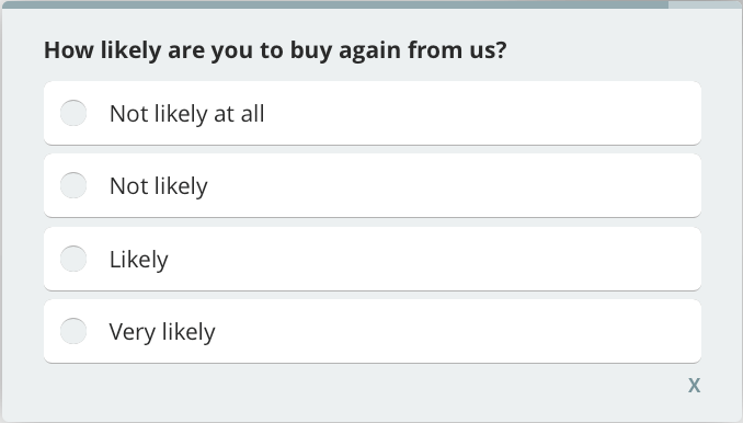 how likely customers buy again, customer satisfaction survey question