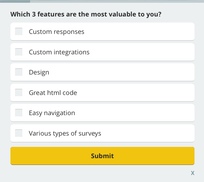 which features are the most valuable for customers? customer satisfaction survey question