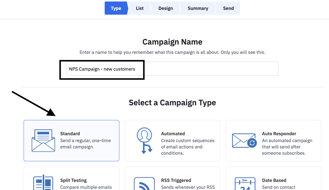 Picture shows how to create first NPS campaign