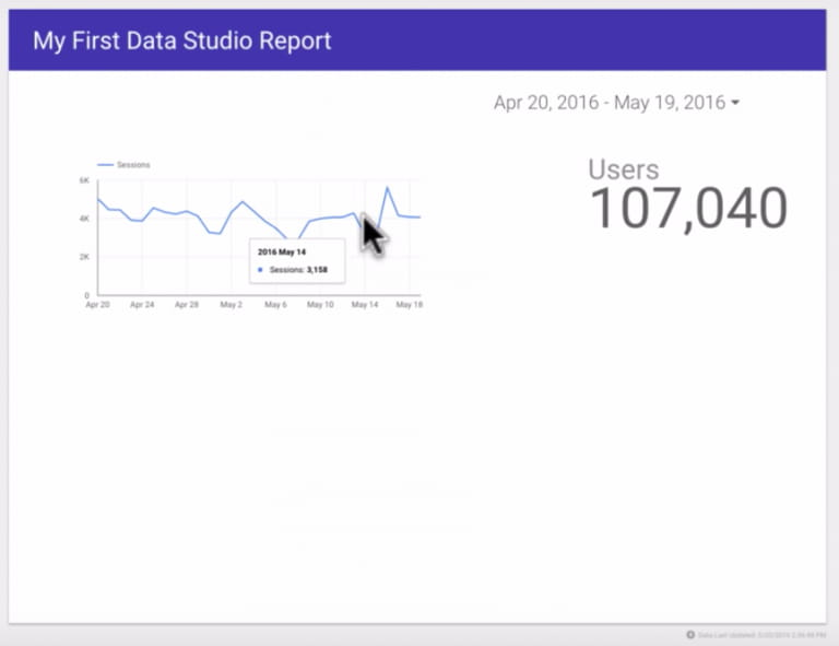 Image of survey data from Google Sheets moved to Google Data Studio