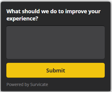 Website exit intent survey question about how to improve customer experience on website