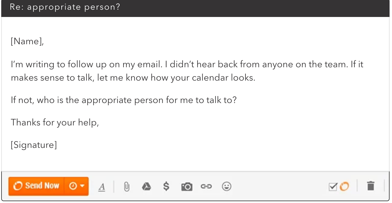 email example asking the client why he is not responding on email