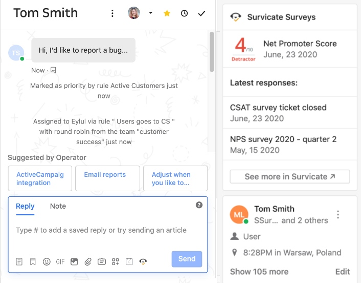 Quick access to the user's latest survey responses panel