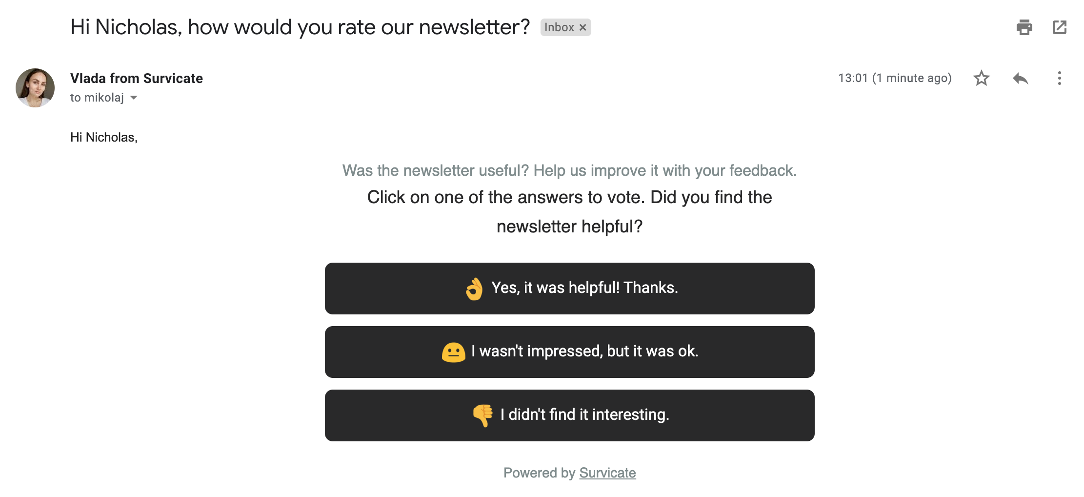 how would you rate our newsletter - simply survey question